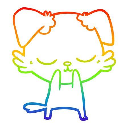 rainbow gradient line drawing of a cute cartoon dog Ilustracja