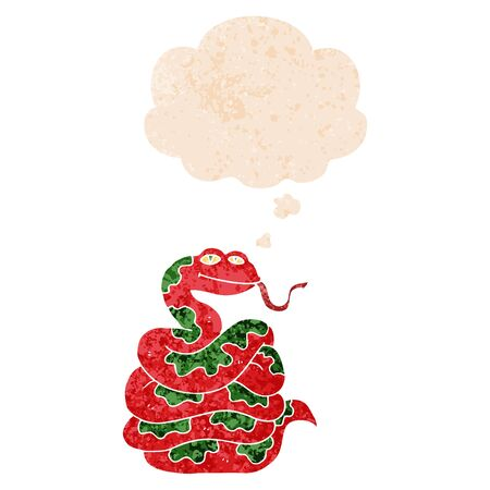 cartoon snake with thought bubble in grunge distressed retro textured style