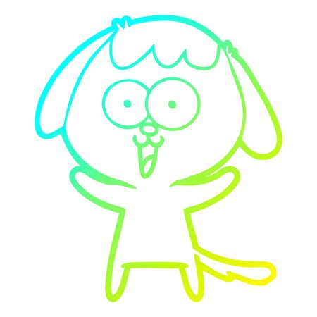 cold gradient line drawing of a cute cartoon dog