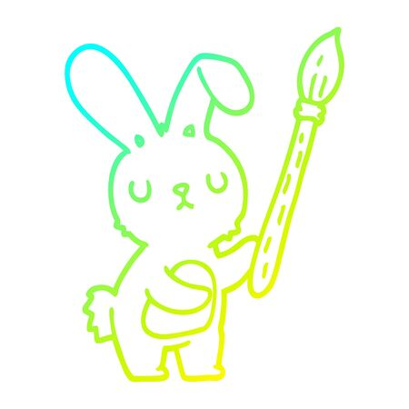 cold gradient line drawing of a cartoon rabbit with paint brush