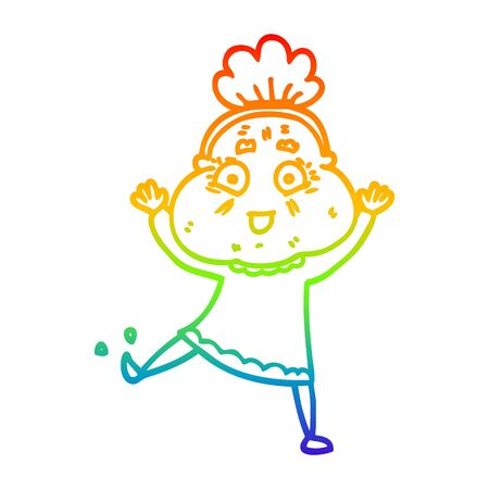 rainbow gradient line drawing of a cartoon happy old woman