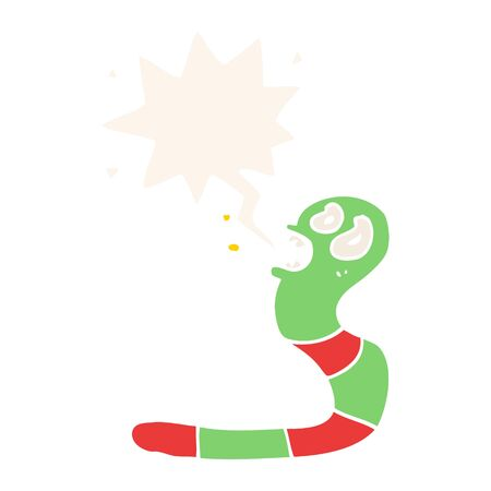 cartoon frightened worm with speech bubble in retro style