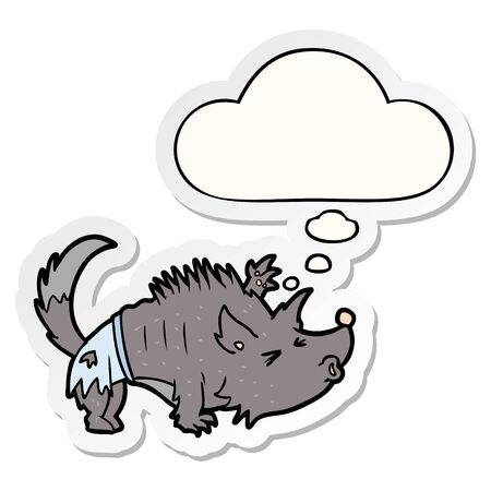 cartoon werewolf with thought bubble as a printed sticker