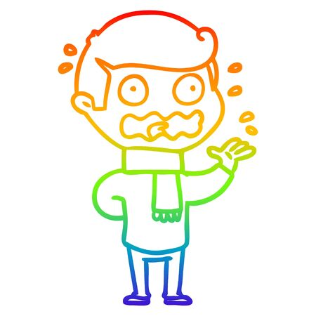 rainbow gradient line drawing of a cartoon man totally stressed out Illustration