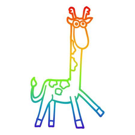 rainbow gradient line drawing of a cartoon funny giraffe
