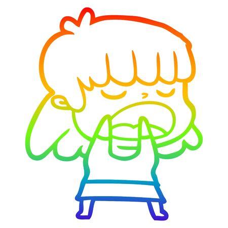 rainbow gradient line drawing of a cartoon woman talking loudly Foto de archivo - 130180937
