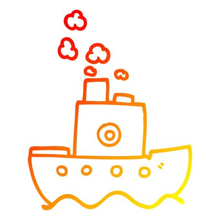 warm gradient line drawing of a cartoon ship