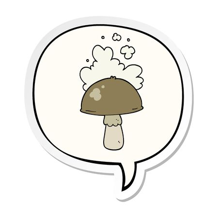 cartoon mushroom with spore cloud with speech bubble sticker Illustration