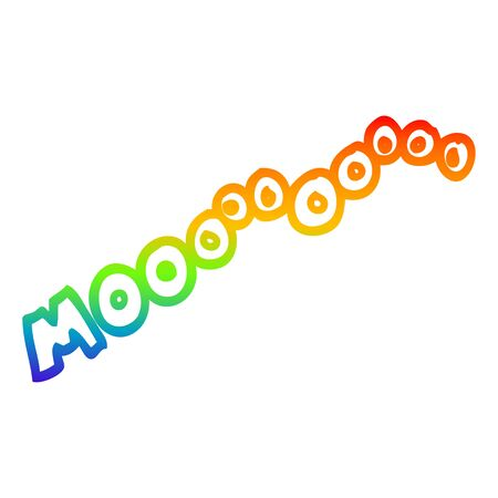 rainbow gradient line drawing of a cartoon moo noise Ilustração
