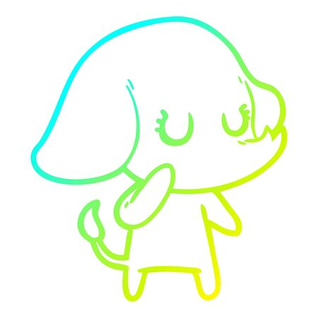 cold gradient line drawing of a cute cartoon elephant