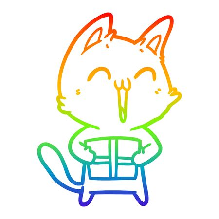 rainbow gradient line drawing of a happy cartoon cat