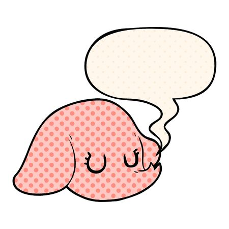 cartoon elephant face with speech bubble in comic book style
