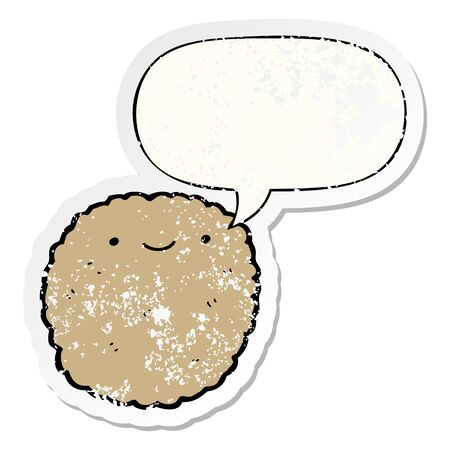 cartoon biscuit with speech bubble distressed distressed old sticker