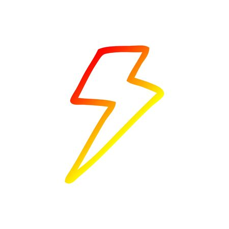 warm gradient line drawing of a cartoon lightning bolt