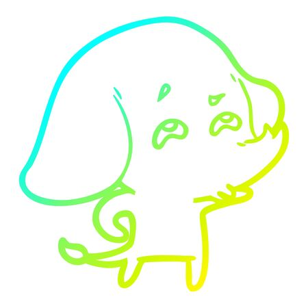 cold gradient line drawing of a cartoon elephant remembering Ilustracja
