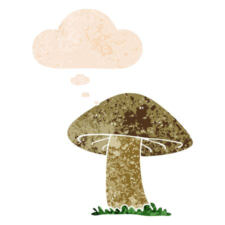 cartoon mushroom with thought bubble in grunge distressed retro textured style