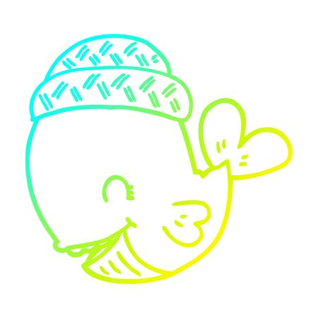 cold gradient line drawing of a cartoon whale wearing hat Ilustracja