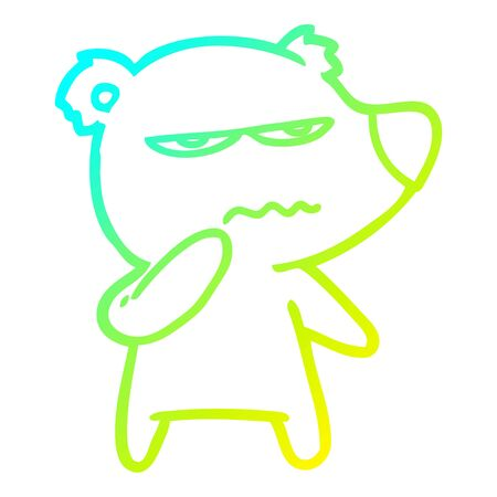 cold gradient line drawing of a angry bear polar cartoon