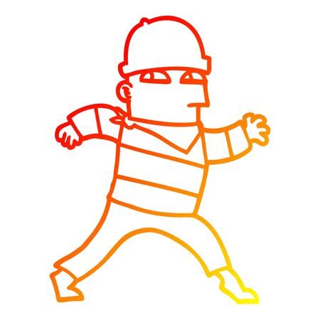 warm gradient line drawing of a cartoon thief