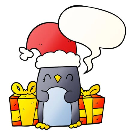 cute christmas penguin with speech bubble in smooth gradient style Ilustração