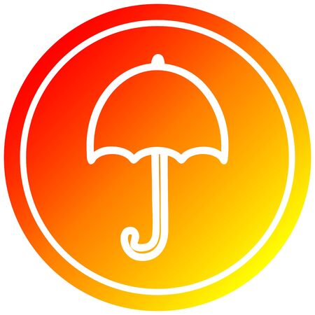 open umbrella circular icon with warm gradient finish 向量圖像
