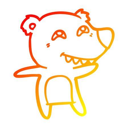 warm gradient line drawing of a cartoon polar bear showing teeth