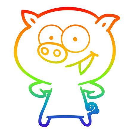 rainbow gradient line drawing of a cheerful pig cartoon Ilustracja