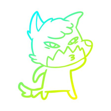 cold gradient line drawing of a clever cartoon fox Ilustracja