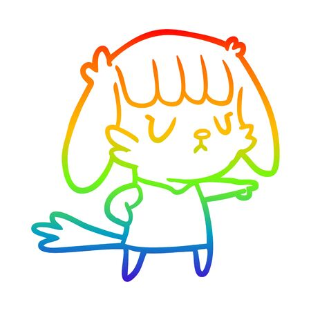 rainbow gradient line drawing of a dog girl pointing Ilustracja