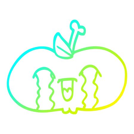 cold gradient line drawing of a cartoon of a sad apple  イラスト・ベクター素材