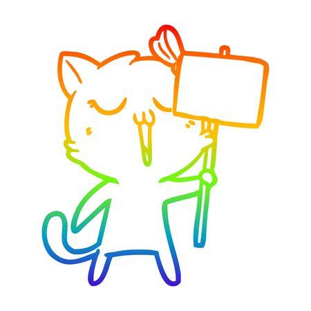 rainbow gradient line drawing of a cartoon cat Ilustracja