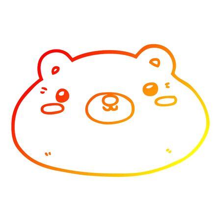 warm gradient line drawing of a cartoon bear