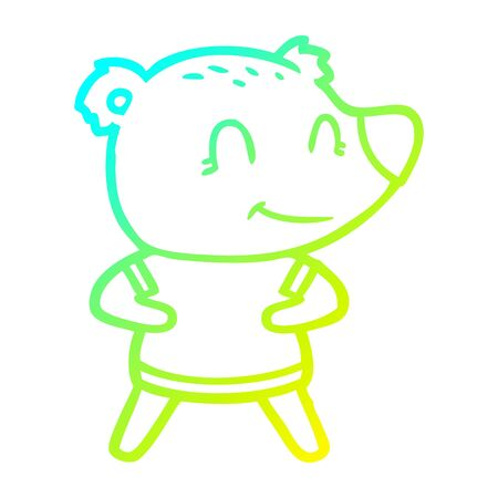 cold gradient line drawing of a friendly bear cartoon Ilustracja