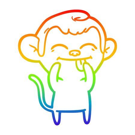 rainbow gradient line drawing of a funny cartoon monkey