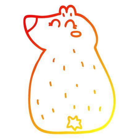 warm gradient line drawing of a cute cartoon bear Ilustracja