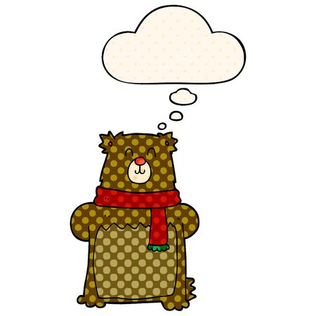 cartoon bear with thought bubble in comic book style