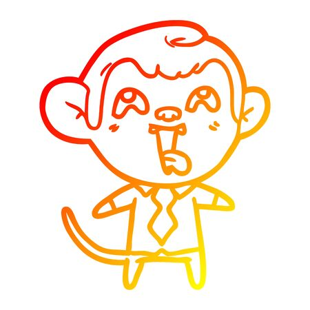 warm gradient line drawing of a crazy cartoon monkey in shirt and tie