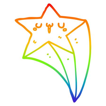 rainbow gradient line drawing of a cartoon shooting star  イラスト・ベクター素材