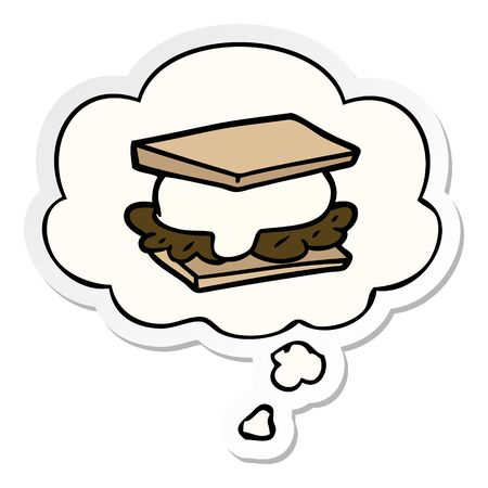 smore cartoon with thought bubble as a printed sticker 일러스트