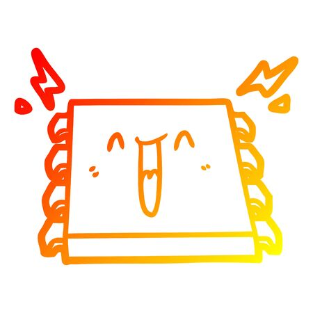 warm gradient line drawing of a happy computer chip cartoon