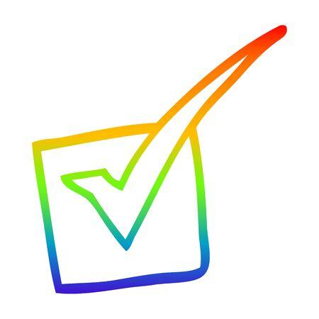 rainbow gradient line drawing of a cartoon tick mark