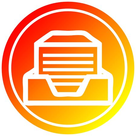 office paper stack circular icon with warm gradient finish Ilustração