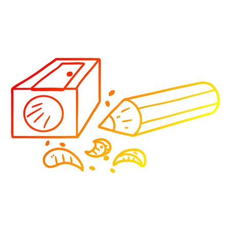 warm gradient line drawing of a cartoon pencil and sharpener