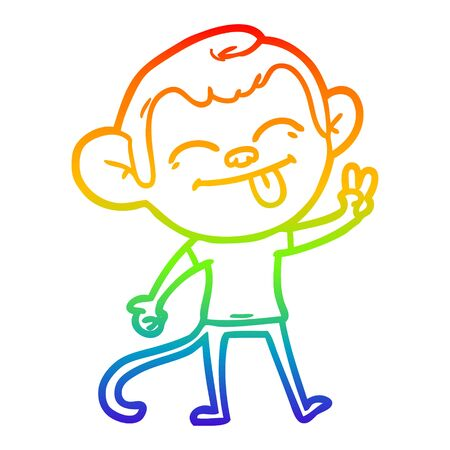 rainbow gradient line drawing of a funny cartoon monkey making peace sign