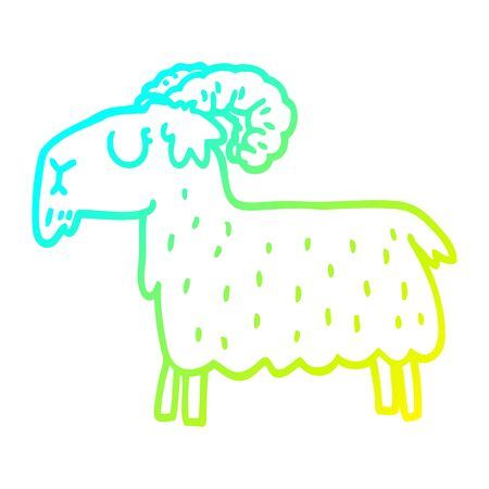 cold gradient line drawing of a cartoon black goat