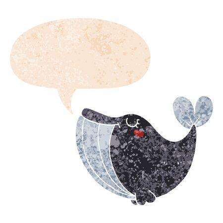 cartoon whale with speech bubble in grunge distressed retro textured style