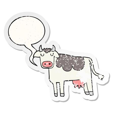 cartoon cow with speech bubble distressed distressed old sticker Ilustracja