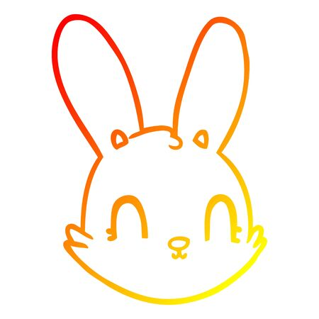 warm gradient line drawing of a cartoon bunny face