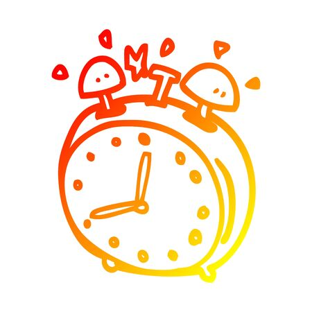 warm gradient line drawing of a cartoon alarm clock