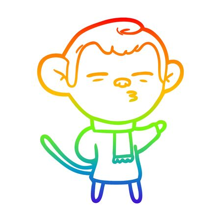 rainbow gradient line drawing of a cartoon suspicious monkey